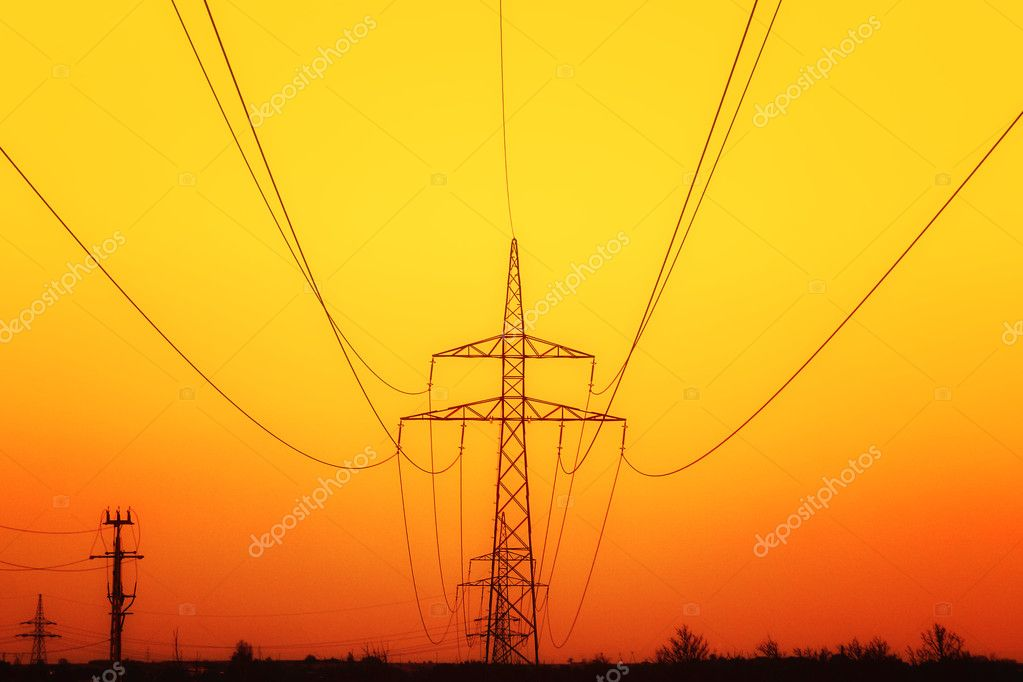 Electricity pylons at sunset  — Stock Photo #4017928