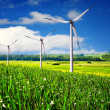 Wind turbines farm in summer — Foto Stock