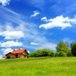 New house and mountain ecological environment — Stock Photo