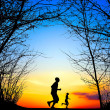 Running at Sunset — Stock Photo