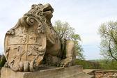 Lion pedestal, Castle Ksiaz — Stock Photo
