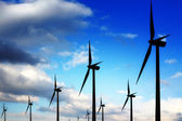 Wind turbines and blue sky — Stock Photo