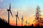 风电在日落的农场 — 图库照片