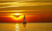 Sailboat at sunset — Photo