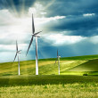 Wind turbines in mountain - Stock Photo