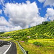 Country road and blue sky - Stockfoto