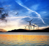 Seascape with wind turbines — Stock Photo