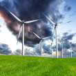Stock Photo: Stormy wind turbines