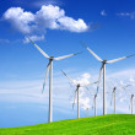 Wind generators on green field — Stock Photo #5089237