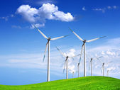 Wind generators on green field — Stock Photo