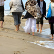 walking on the beach — Stock Photo