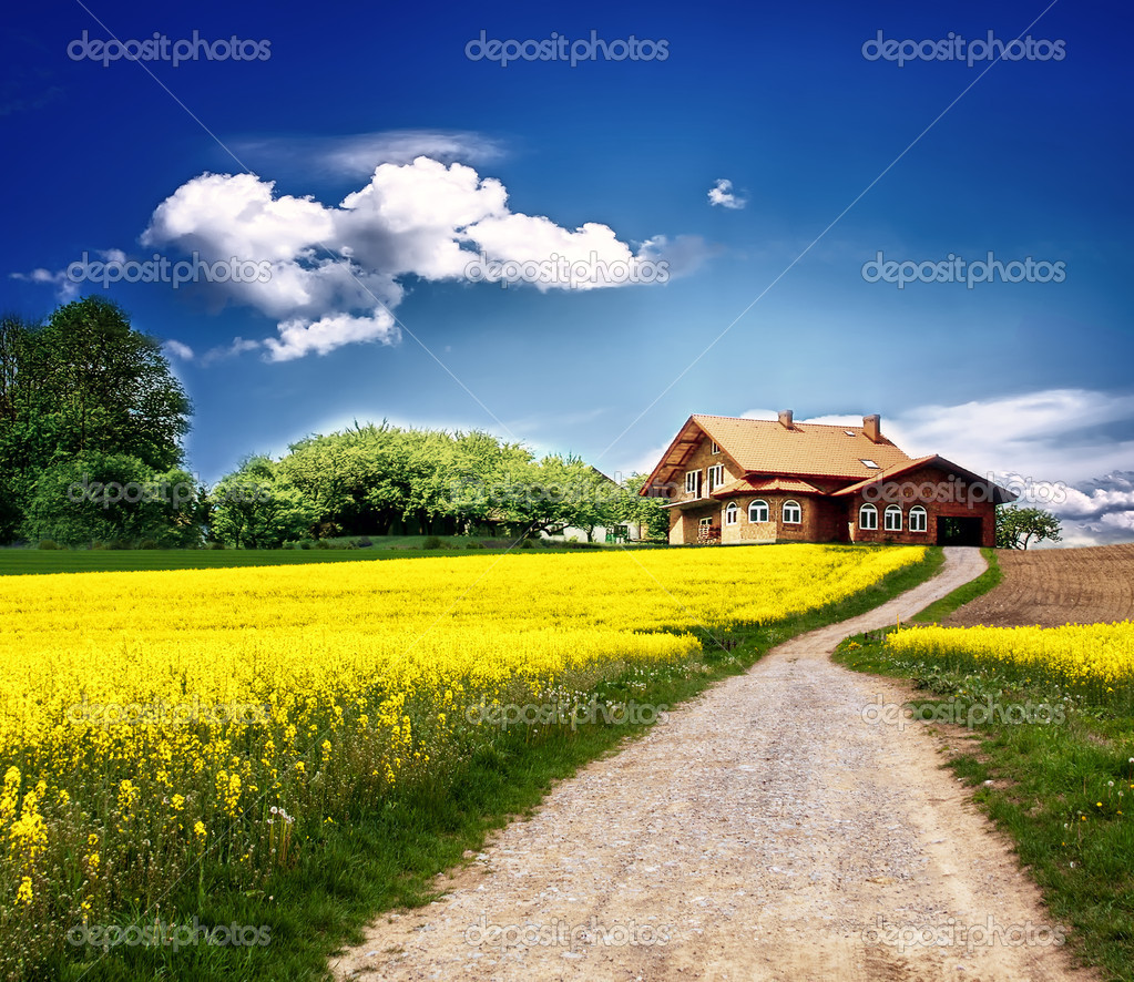 Country Landscape With New House Stock Photo WDGPhoto