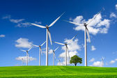 Wind turbines farm on green field — Stock Photo