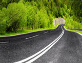 Empty mountain road in spring — Stock Photo