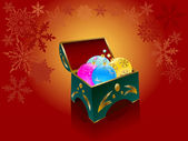 Christmas balls in a gift box — Vector de stock