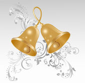 Two gold handbells — Vector de stock