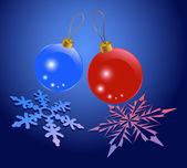Kerstballen met sneeuwvlokken textuur — Stok Vektör