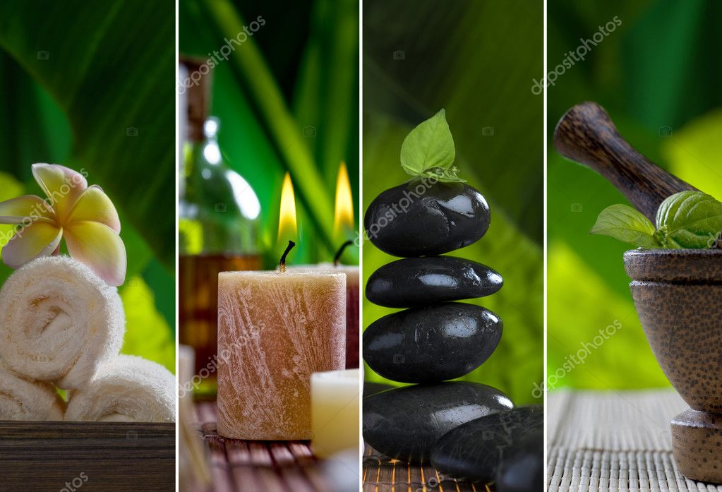 Close up view of spa theme objects on natural background — Stock Photo #4399385