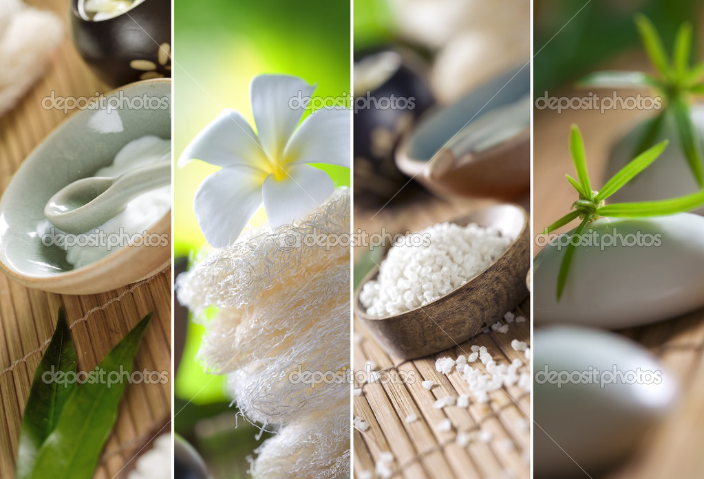 Close up view of spa theme objects on natural background — Stock fotografie #4415271