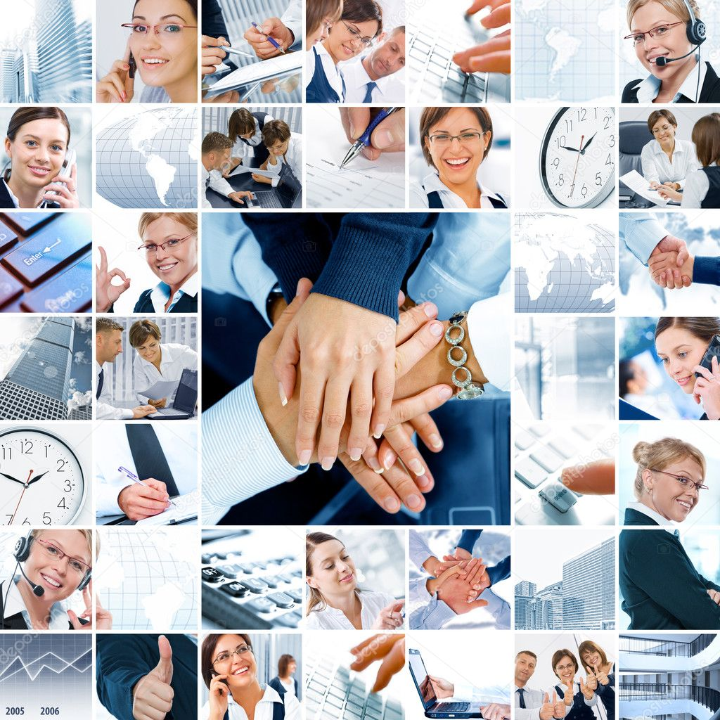 Business  theme  photo collage composed of different images — Stock Photo #4614653