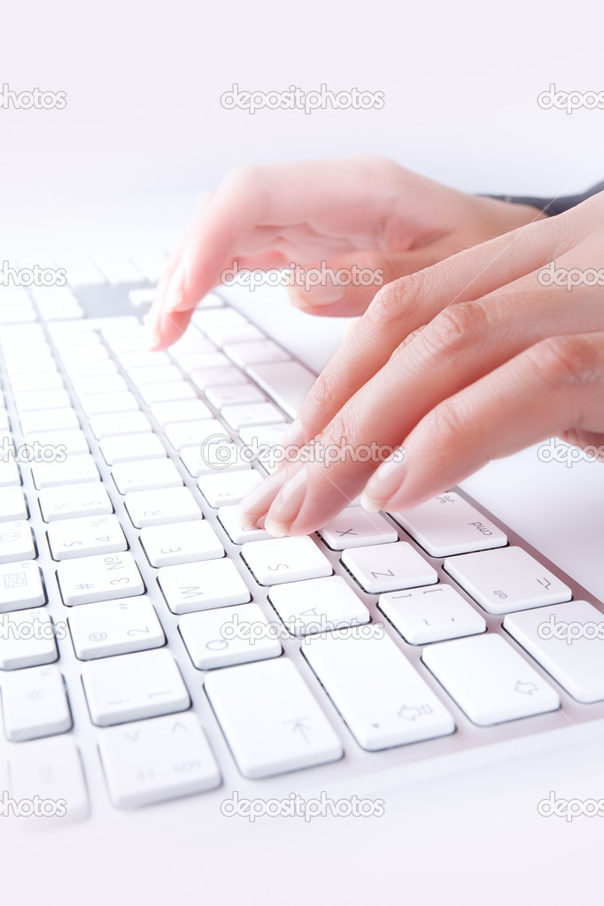Close up  view of female hands touching computer keyboard — Stock Photo #4672160