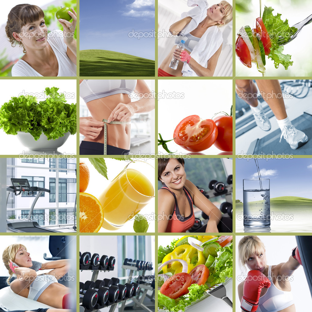 Healthy lifestyle  theme collage composed of different images — Stock Photo #5222599