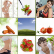 Stock Photo: Healthy lifestyle theme collage composed of different images