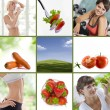 Healthy lifestyle theme collage composed of different images — Stock Photo #5241173