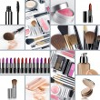 Close up view of cosmetic theme objects on white back - Foto Stock