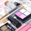 Close up view of cosmetic theme objects on white back — Stock Photo