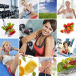 Foto Stock: Healthy lifestyle theme collage composed of different images