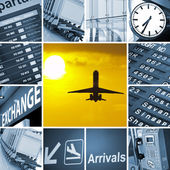 Airport theme mix composed of different images — Stock Photo