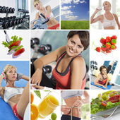 Healthy lifestyle theme collage composed of different images — 图库照片