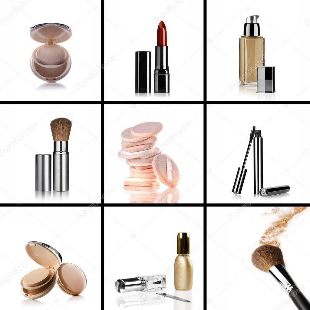 Close up view of cosmetic theme objects on white back — Stock Photo #5241210