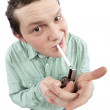 Young man lighting his cigarette — Stock Photo