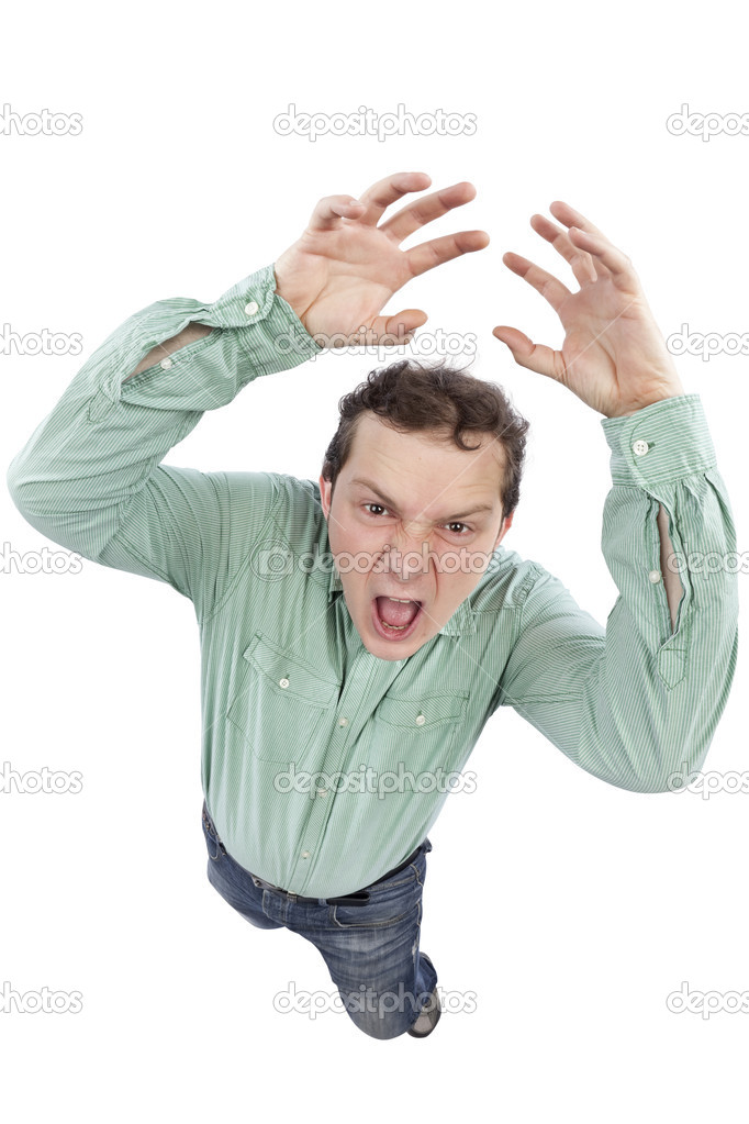 Distorted image of a scared man shouting and gesturing. Fish-eye lens used. Studio shot. Isolated on pure white background. — Stock Photo #5012989