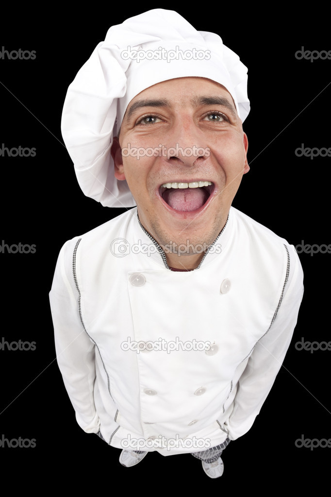 Funny young chef laughing and looking up. High resolution studio shot. Distorted image taken with fisheye lens.  Stock Photo #5148993