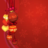 Christmas spheres and hearts on a red background with snowflakes — Stock Photo