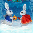 Christmas hares with gifts — ストック写真