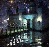 The fantastic castle in lake in the night sky — Stock Photo
