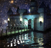 The fantastic castle in lake in the night sky — Stock Photo