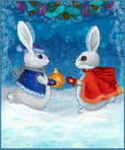 Christmas hares with gifts — Stock Photo