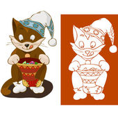 Kitten with Christmas gifts — Stock Vector
