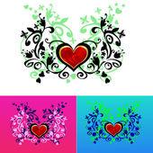 情人节卡装饰。花卉背景上的心. — 图库矢量图片