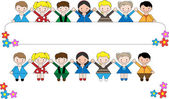 Group of children of different nationalities holding a banner — Stock Vector