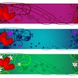 Valentine banner set. Day, evening and night - Stock Vector