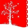 Stock Vector: White silhouette of love tree on red background