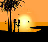 Dancing couple against a sunrise and the sea — Stock Vector