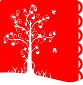 The white silhouette of love tree on red background — Vetor de Stock