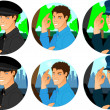 Man driver cartoon icon set - Imagen vectorial